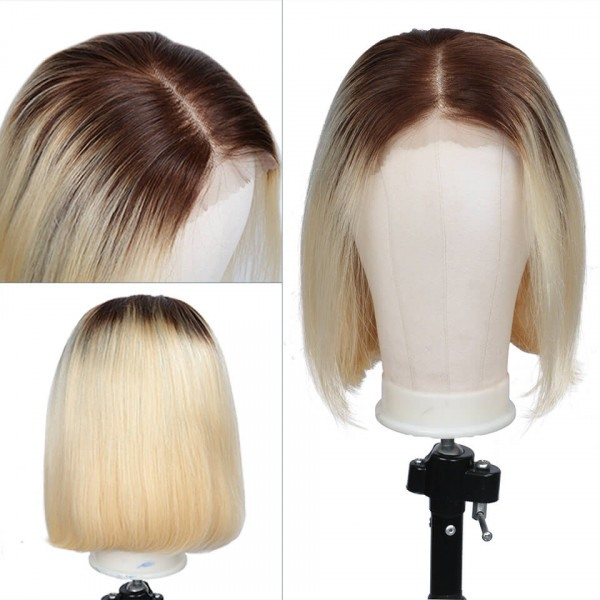 Nadula Short Bob Wig Brown Roots Blonde Wig 13×6 Lace Front Wigs 4/613 Colored Wig 150% Density