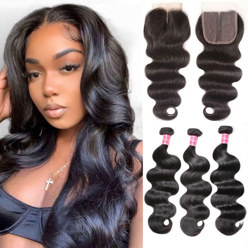 Middle Part Body Wave Closure with 3 Bundles Hair Weaves