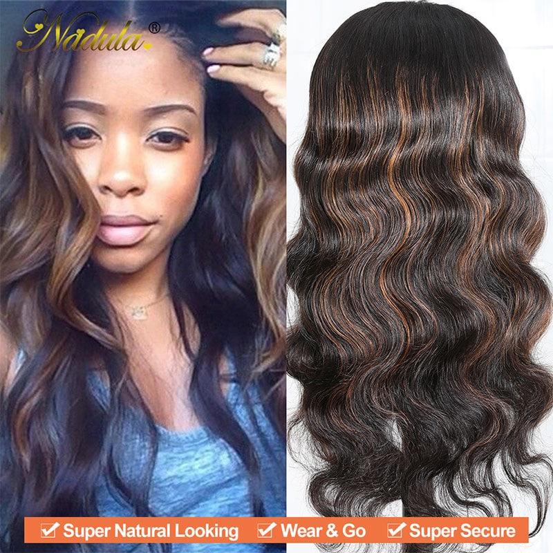 Nadula U Part Body Wave Wigs 4*2 inch U Part Dark Aubrun Virgin Human Hair Wigs