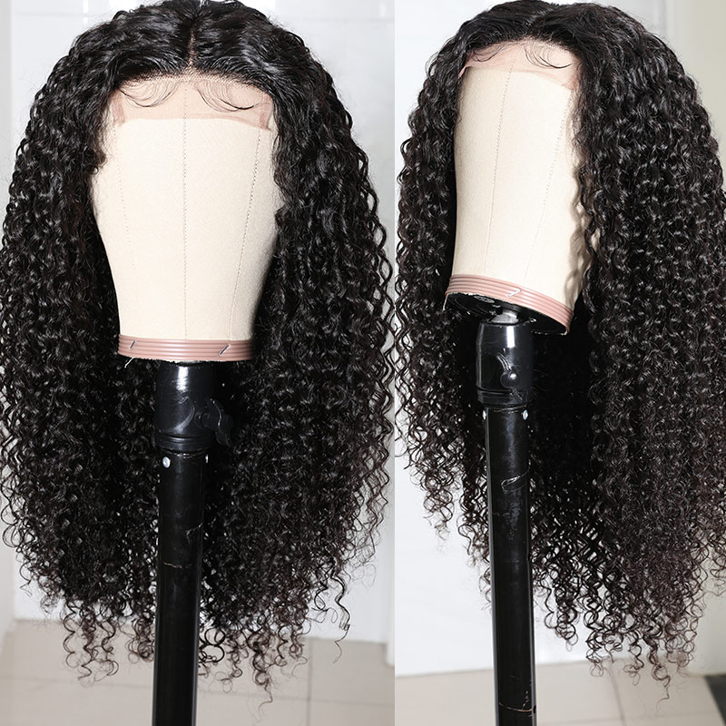 100% Quality Curly Wigs Natural Black
