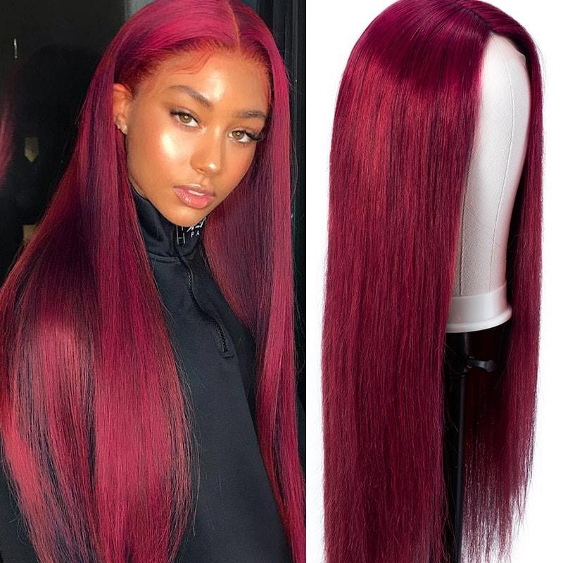 Nadula Lace Closure Wig 99j Wig Long Straight Wig Burgundy Red Wig Invisible Knots Human Hair Wigs