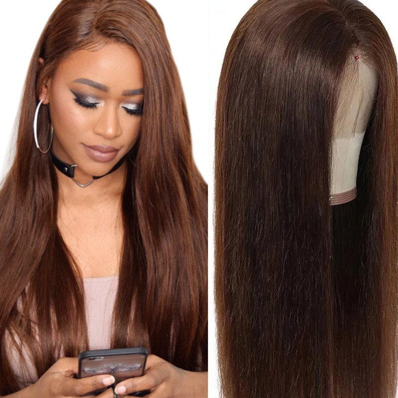 Nadula Light Brown 13×4 Lace Front Wig 130% Density Wig Straight Human Hair Colored Wig