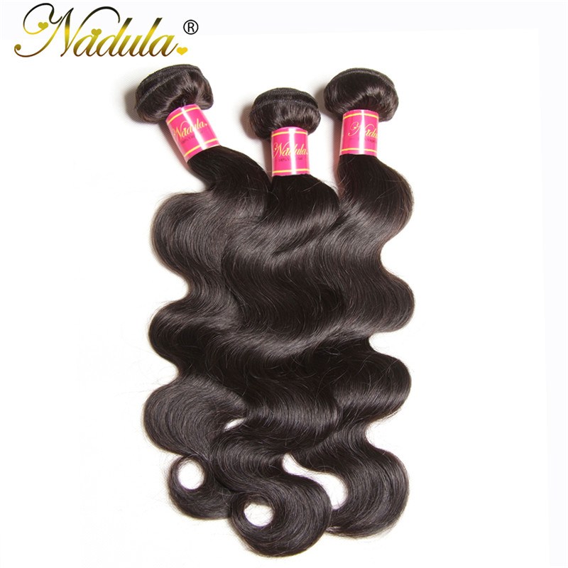 Nadula Natural Black Brazilian 3 Pcs Body Wave Virgin Human Hair Weaving
