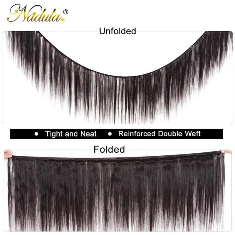 Nadula 2 Pcs 16 Inch Straight Hair Weave100% Virgin Hair Extensions