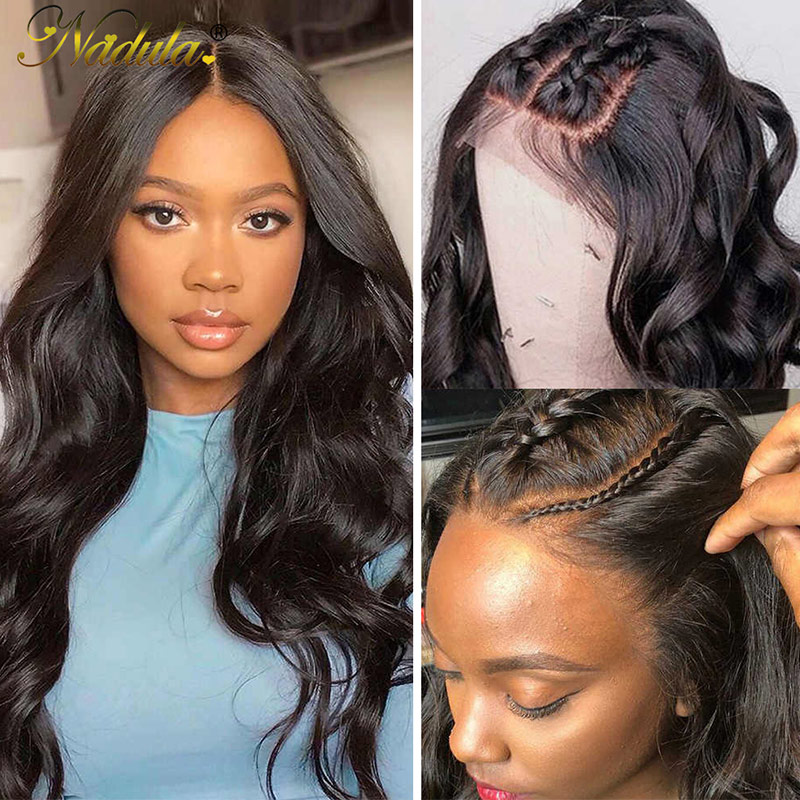 Nadula Lace Wig Human Hair Wigs Body Wave With Baby Hair 150% Density Wigs Pre-Plucked Hairline