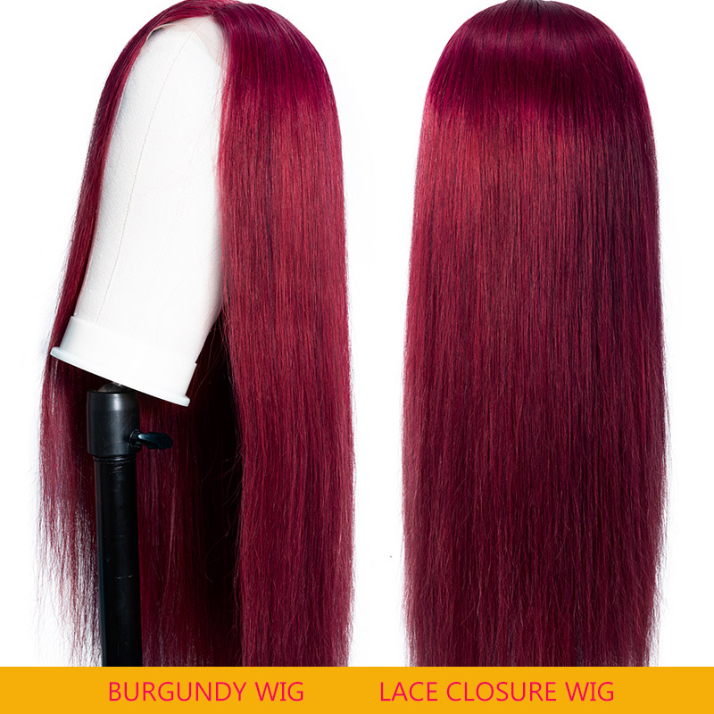 Nadula Lace Closure Wig 99j Wig Long Straight Wig Burgundy Red Wig Invisible Knots Human Hair Wigs