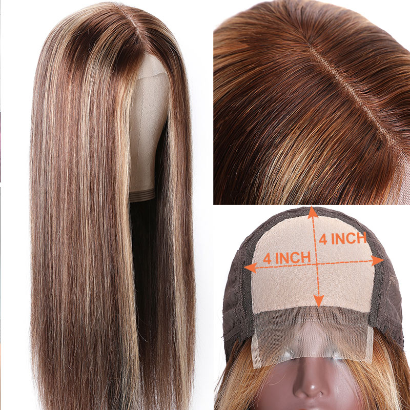 Nadula Straight Blond Wig Lace Wigs Brown Wig Highlight Color 150% Density Natural Hairline