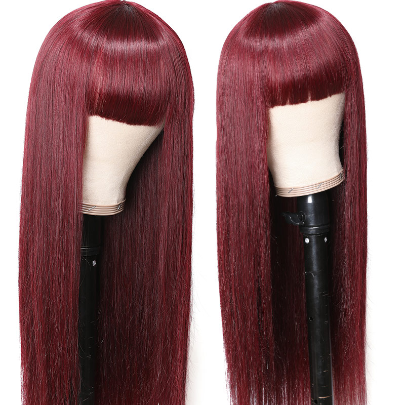 Nadula #99j Colored Wig Straight Wig With Bang Burgundy Red Wig Capless Long Wig Glueless 100% Human Hair Wigs