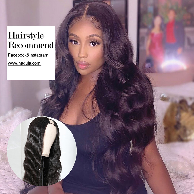 Nadula U Part Wig Body Wave U Part Human Hair Wigs 150% Density Glueless Natural Looking Hairline