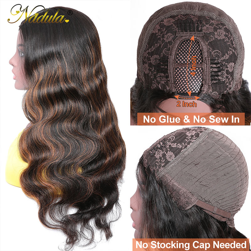 Nadula U Part Body Wave Wigs 4*2 inch U Part Dark Aubrun Virgin Human Hair Wigs