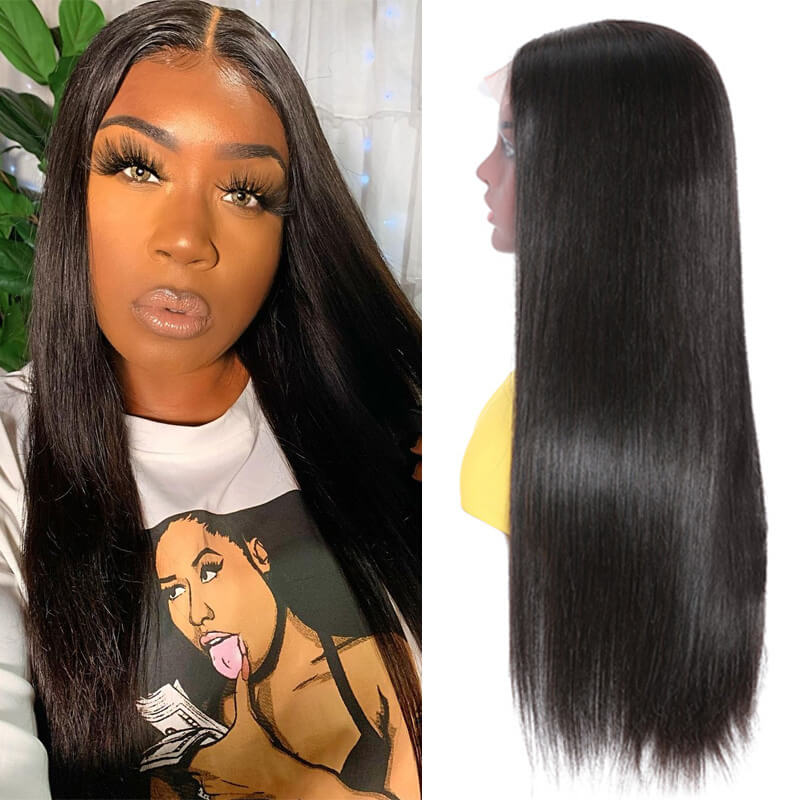 Nadula Fake Scalp Lace Wig 4*0.75 inch Hand Tied Lace Wig Middle Part Straight Hair Wigs
