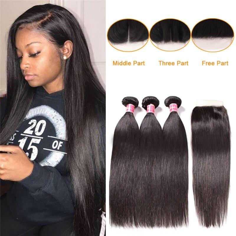 Nadula Straight Hair Bundles With Hair Closure