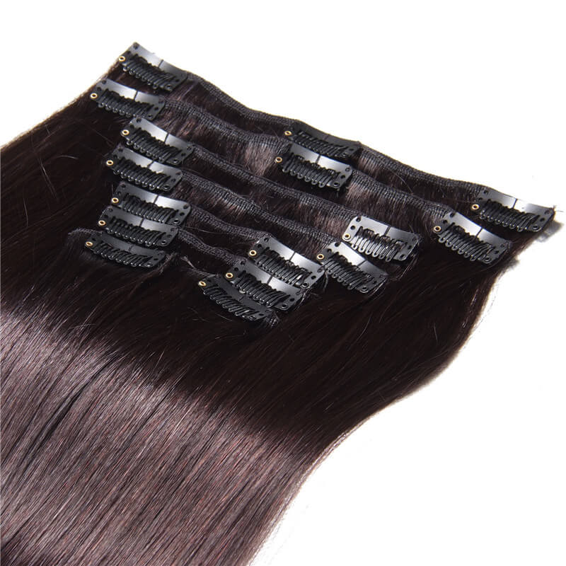 Nadula #1B Natural Black Color Clip In Human Hair Extensions