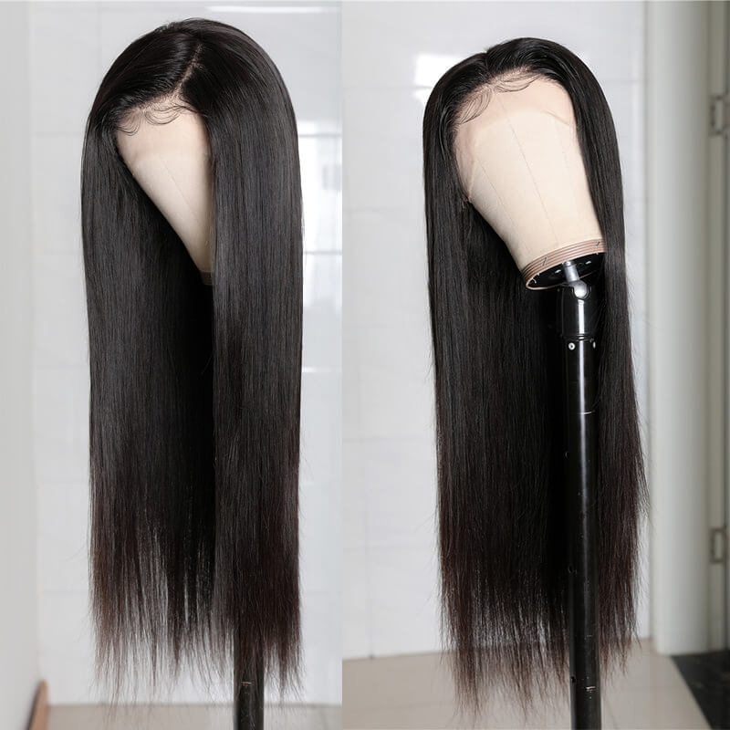 Nadula 360 Lace Front Wig Jet Black Color Straight 150% Density Wig Real Human Hair Wig