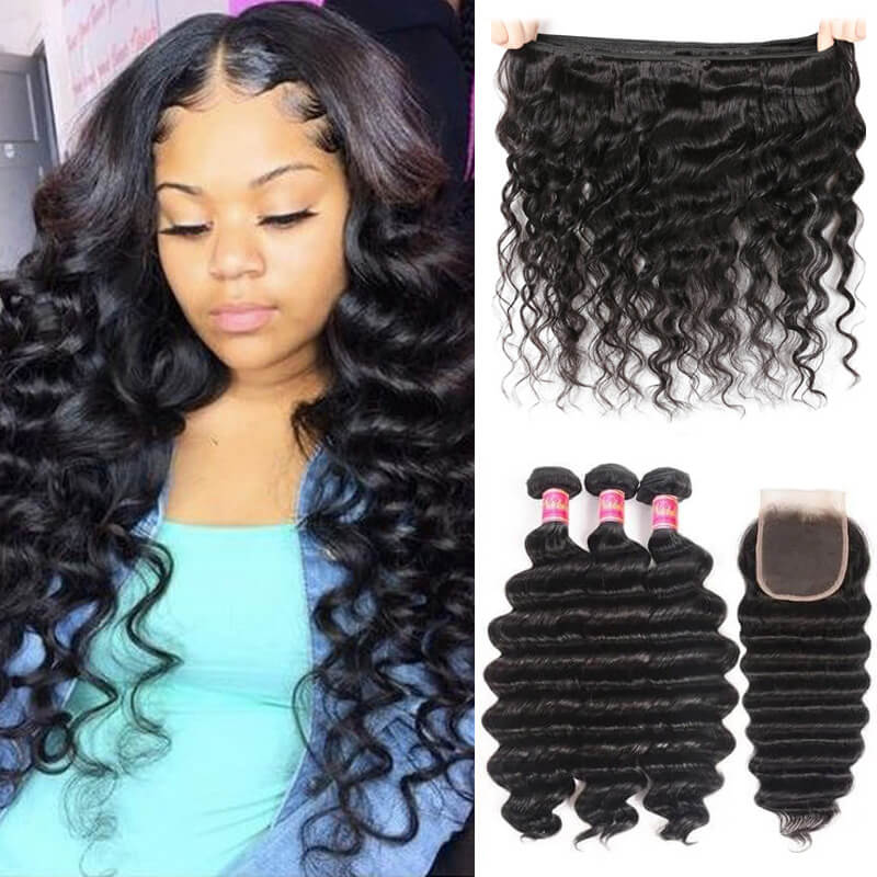 3 Bundles Loose Deep Wave Bundles With 4x4 Lace Closure Nadula