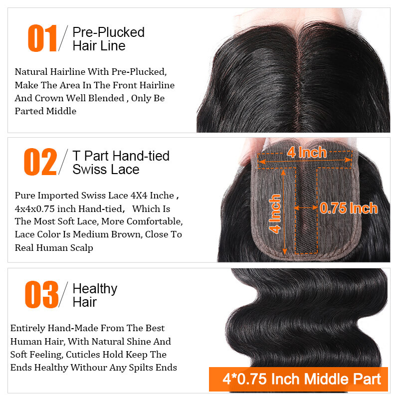 middle part 4*0.75 Inch T Part body wave virgin hair closure