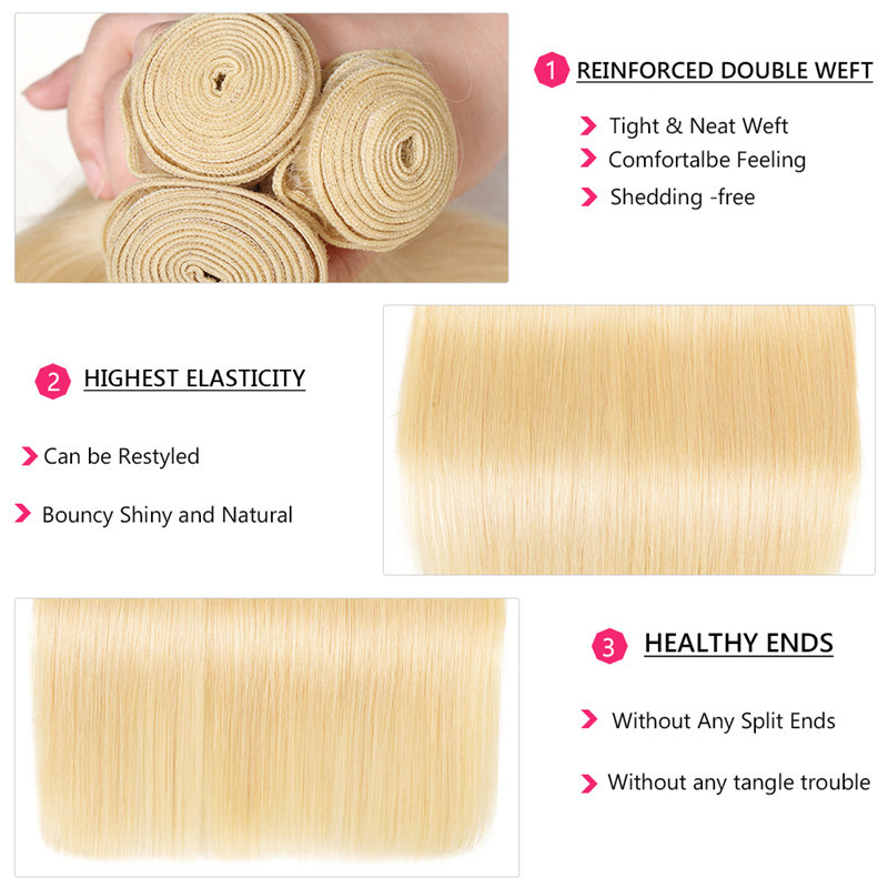 Nadula 3PCS 613 Blonde Hair Bundles Straight Virgin Human Hair