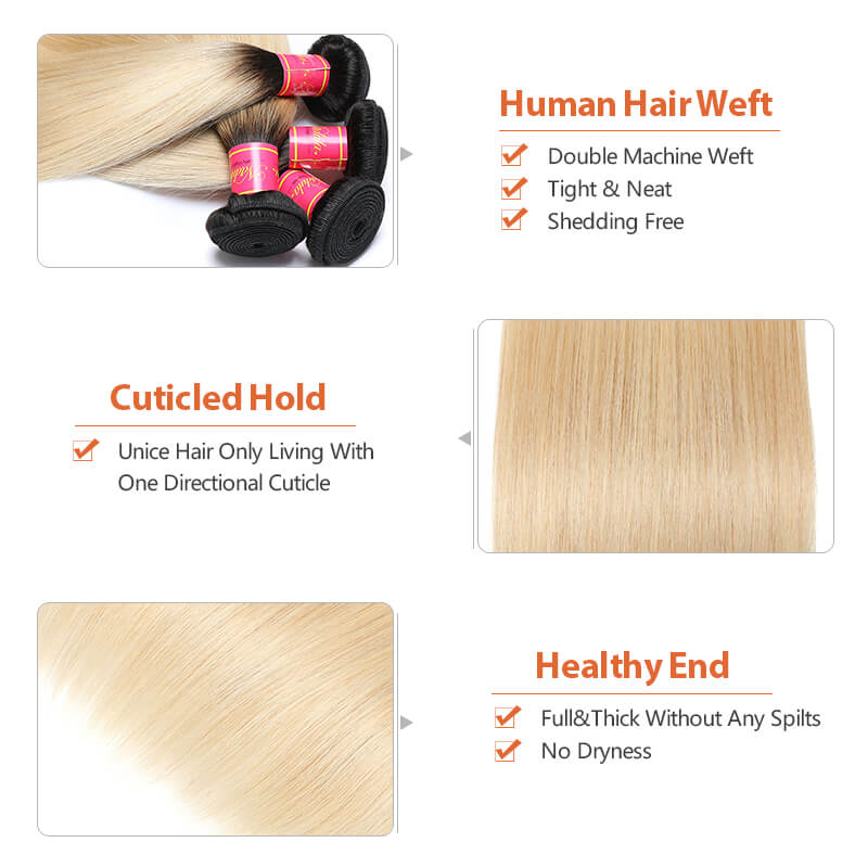 Nadula 4 Bundles affordable Straight Ombre Hair Weave 2 Tone Color Ombre Human Hair Extensions