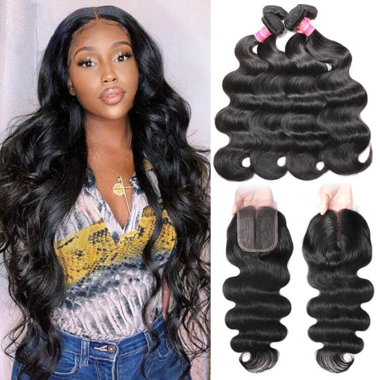 Nadula 4 Bundles Body Wave Hair Weave With 4*0.75 T Part Lace Closure