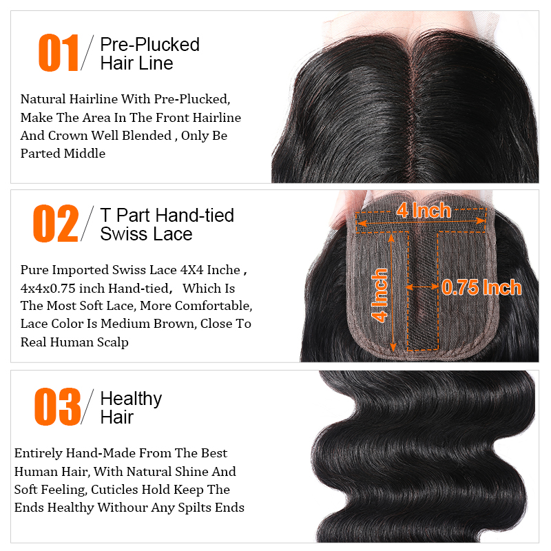 Nadula 4*0.75 T Part Lace Closure 100% Unprocessed Virgin Human Hair