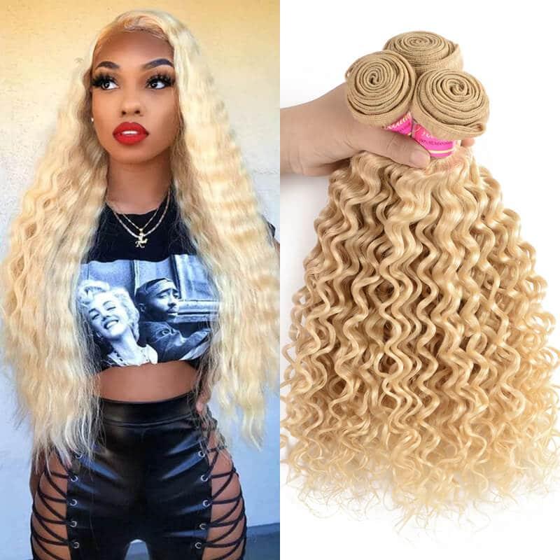 Nadula 4 Bundles Deep Wave 613 Blonde Colored Hair 100% Virgin Human Hair Weave