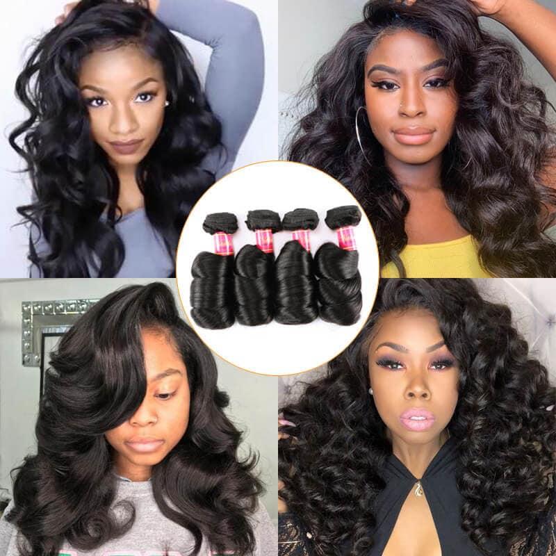 Nadula 4 Bundles Virgin Peruvian Loose Wave Hair Weave