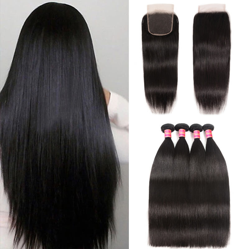 Nadula 4 Bundles Virgin Straight Human Hair Weave With Lace Closure