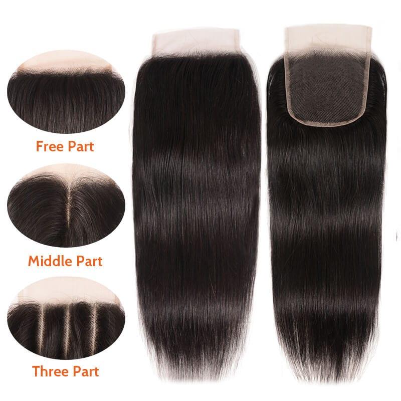 Nadula Virgin Straight Human Hair Lace Closure