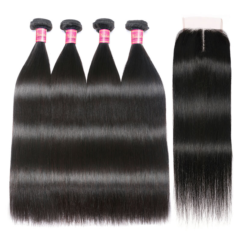 Nadula 4*0.7 Inch T Part Closure with 4 Bundles Virgin Straight Human Hair Weave