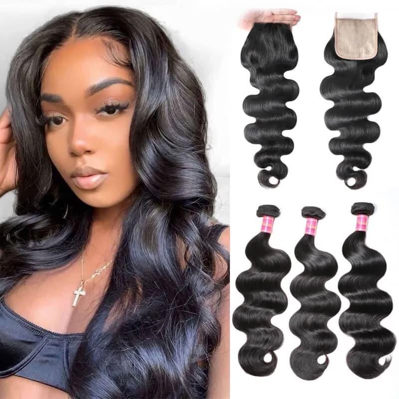 Nadula PU Closure Fake Scalp Body Wave Closure with 3 Bundles Hair Weave