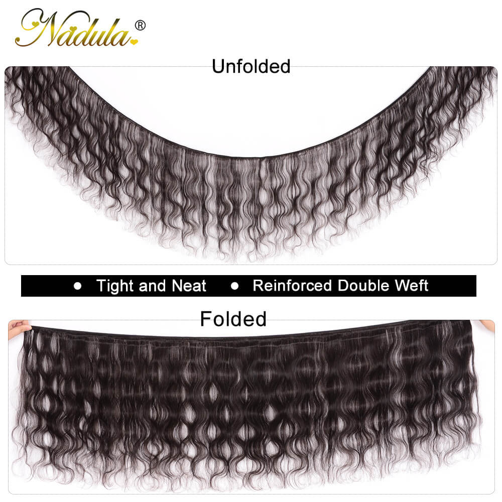 Nadula 4x4inch Super Thin Skin PU Closure Fake Scalp Body Wave Closure with 3 Bundles Hair Weave 100% Virgin Human Hair