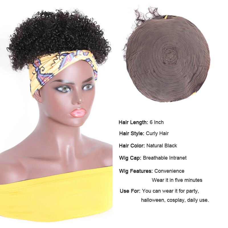 Nadula 6Inch Short Afro Kinky Curly Headband Wig Natural Black Virgin Hair Wigs
