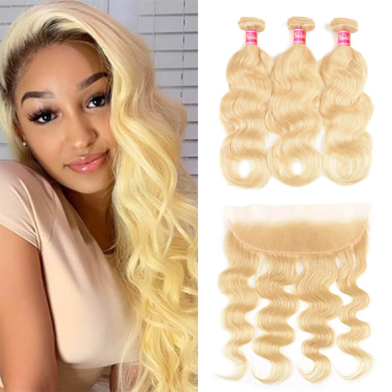 Nadula Body Wave Blonde Hair Weaves 613 Color 3 Bundles With 13x4 Frontal
