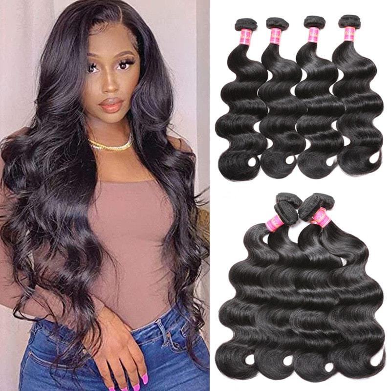 Nadula Real Indian Virgin Hair Weave Bundles 4 Pcs Soft Indian Body Wave