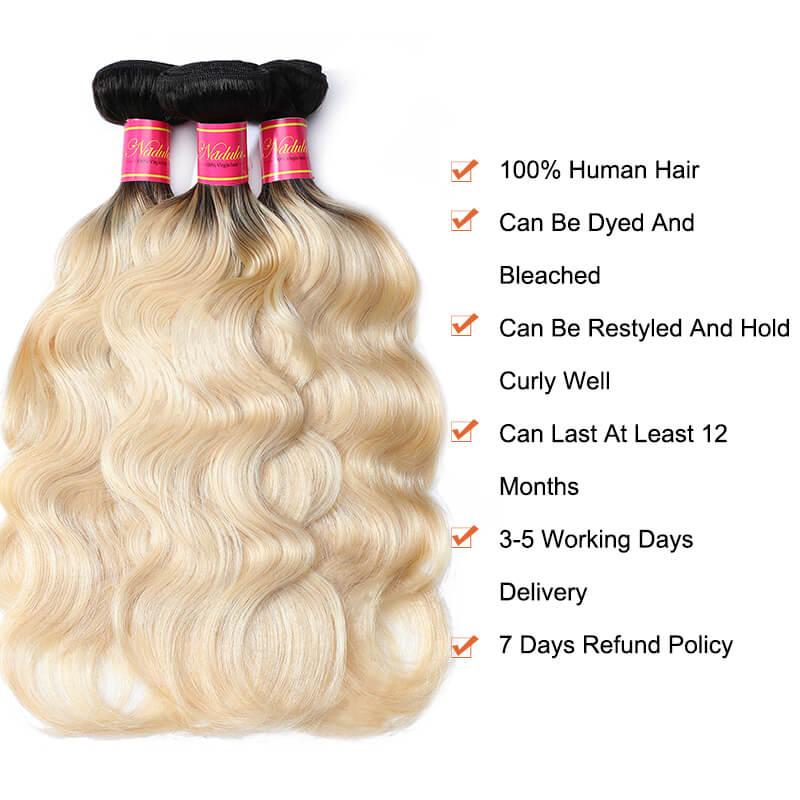 Nadula Body Wave Ombre Hair 3 Bundles 2 Tone Blonde Hair Ombre Color
