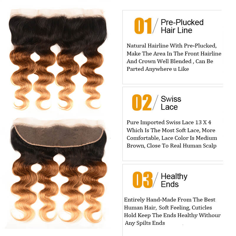 Nadula Body Wave 4 Bundles With 13X4 Lace Frontal Ombre Colored