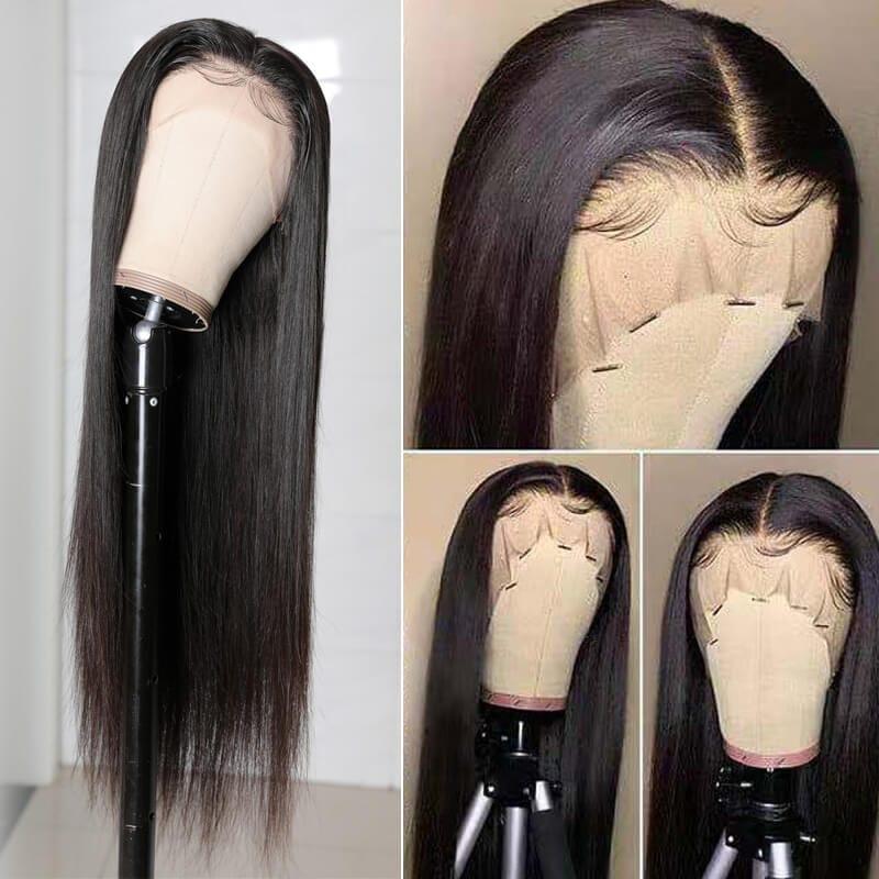 Nadula Straight Real Human Hair 13*4 lace front Wig Natural Brazilian Virgin Hair 130% Density Wig