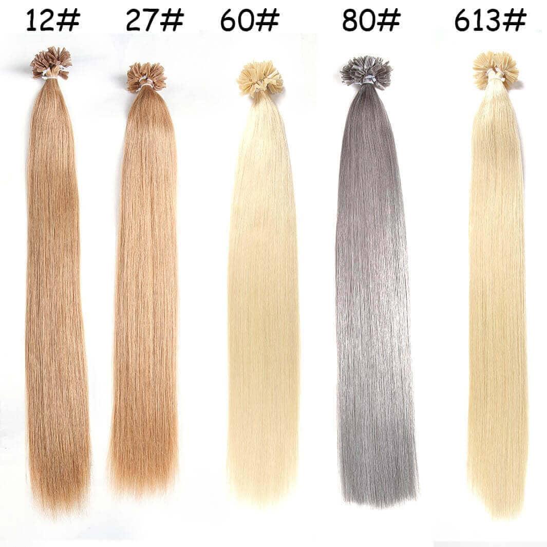 Nadula Affordable Nail U Tip Keratin Fusion Hair Extensions Straight Pre Bonded Indian Remy Hair 100G