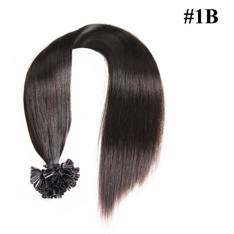 Nadula Affordable Pre Bonded U Tip Keratin Fusion Hair Extensions Peruvian Straight Remy Human Hair Extensions #1 #1B #2