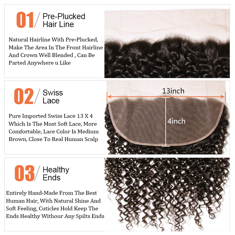 Nadula Curly Virgin Hair  13x4 Lace Frontal Closure