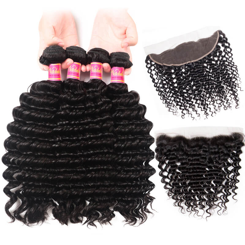 Nadula 4 Bundles Deep Wave Virgin Hair Weave With 13x4 Lace Frontal Closure