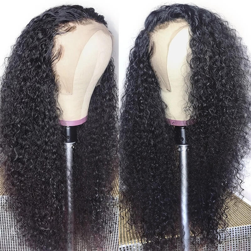 Nadula Three Part Jerry Curly 13 By 4 By 0.75 Inch Part Lace Wig 100% Virgin Human Hair