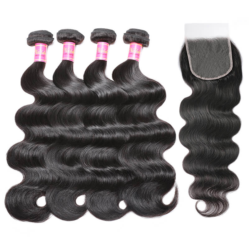 Nadula Glueless And Invisible Body Wave 5 By 5 Inch HD Lace Closure With 4 Bundles Virgin Human Hair Weave