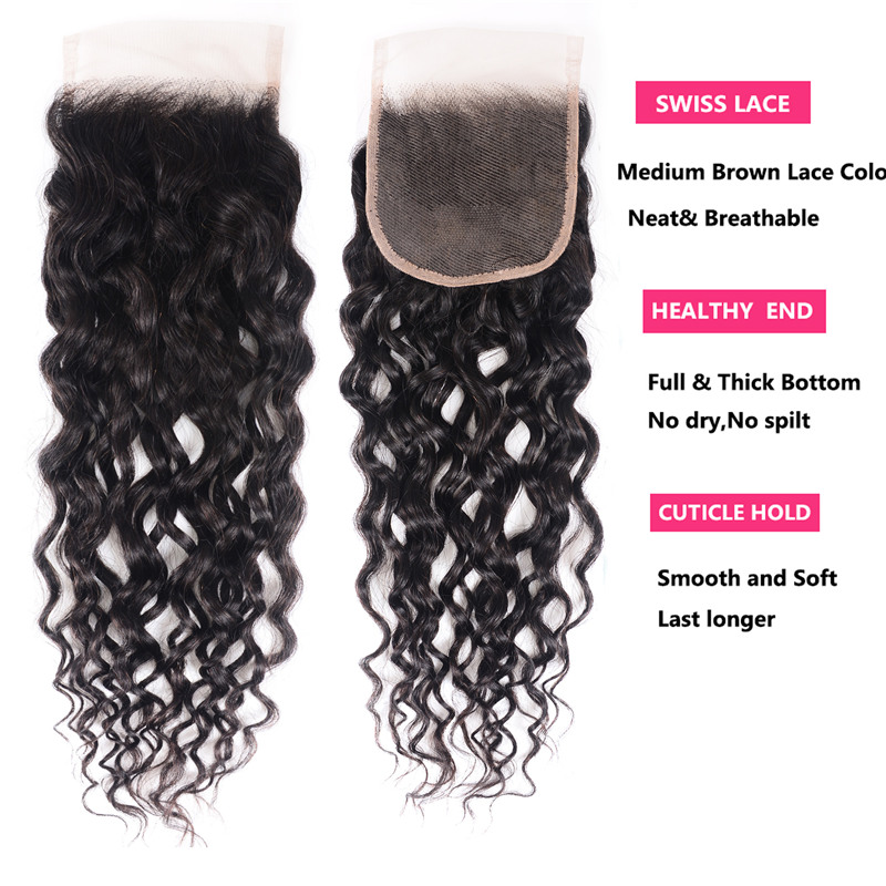 100% Soft Unprocessed Water Wave Virgin Hair Lace Closure
