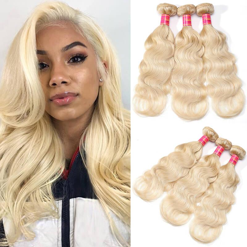 Nadula Hair 613 Blonde Virgin Human Hair Wave 3 Bundles Body Wave Hair
