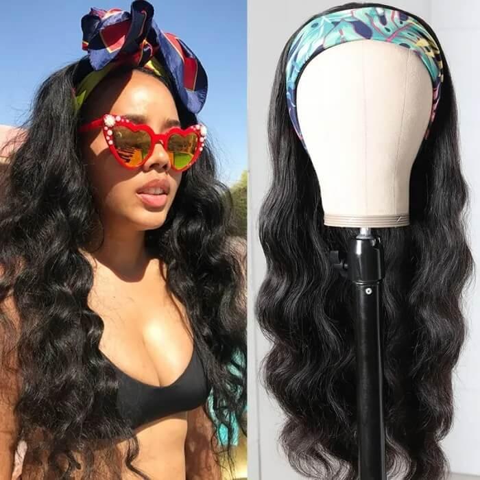 Nadula Headband Wig Body Wave Wigs With Scarf Natural Black Glueless