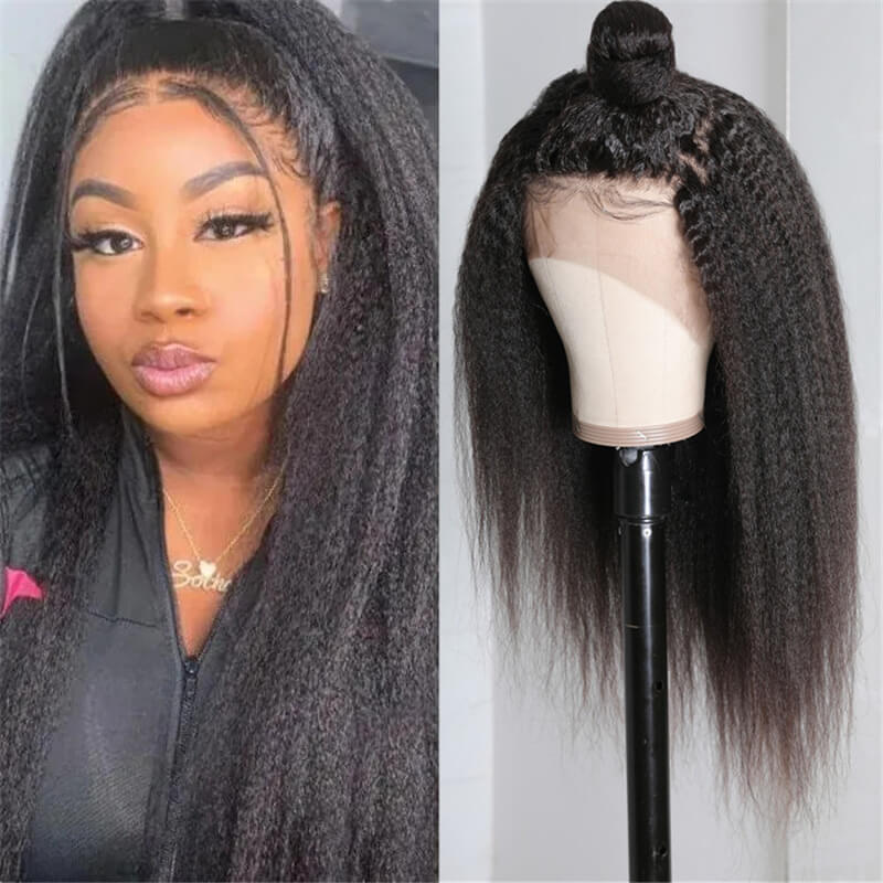 Nadula High Quality Lace Front 150% Density Kinky Straight Pre Plucked Hair Wigs