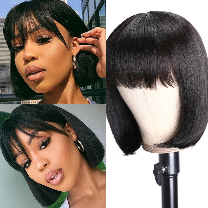 Nadula Bob Wig With Bangs 150% Density Virgin Remy Hair Classic Glueless Wig