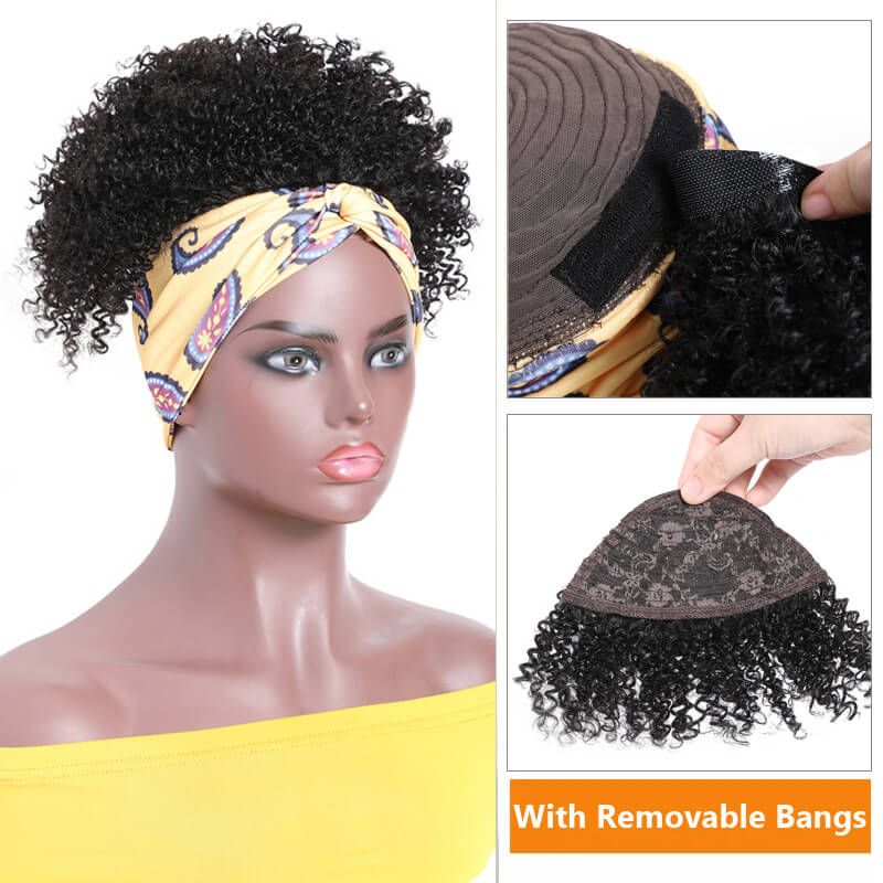 Short Kinky Curly Human Hair Wigs With Removable Bangs