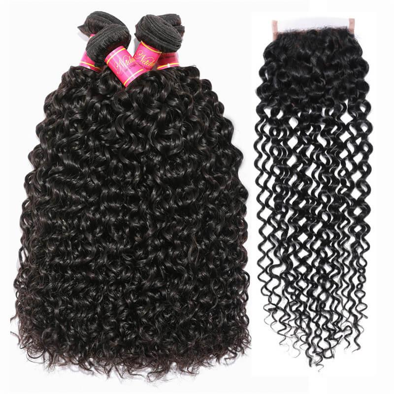 4 Bundles Human Hair Weave With T Part Closure